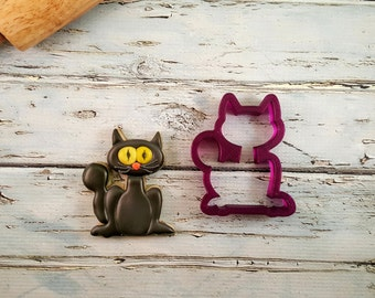 Cat or Black Cat or Scary Cat or Halloween Cat Cookie Cutter or Fondant Cutter and Clay Cutter