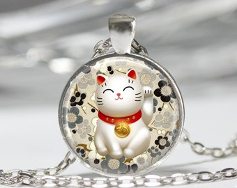 Lucky Cat Necklace Black and Grey Maneki Neko Japanese Chiyogami Art Pendant in Bronze or Silver with Link Chain Included