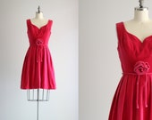 Vintage Dress . Pink Velvet Dress . 50s Cocktail Dress . Pleated Dress