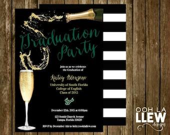 School Color & Mascot Champagne Graduation Party Invitation