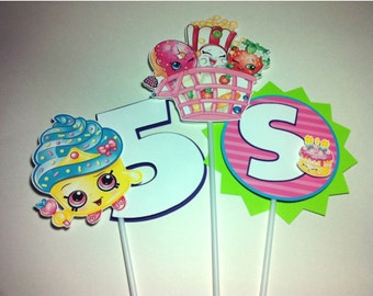 SHOPKINS Birthday Party Centerpiece Picks Sticks