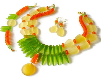SALE - Sea Glass Statement Necklace, 3 Piece, Tribal Statement Necklace, Bold Fringe Necklace, Colorful Boho Necklace, Lime, Yellow, Orange