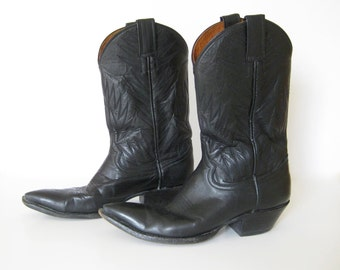 Vintage Custom Black Leather Cowboy Boots by Attitude // Made in the USA // Country // Outlaw // // Western // Biker // Sz 7.5 Women