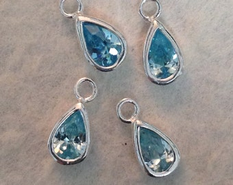 Sterling Silver AQUAMARINE Charms   -  2 Teardrop Shaped Gemstone Charms - Earring Dangles  8mm GL213