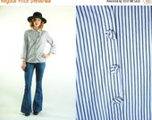 ON SALE 50% 70's Vintage FORMAL Vertical Stripes White and Grey Shirt (M)