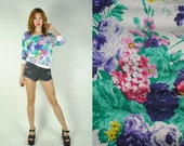 ON SALE 50% Vintage 80s DOLLMAN Sleeve Floral Print top. (S)