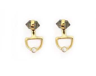 Moon gazer ear jackets- labradorite point studs, labradorite studs, gemstone studs