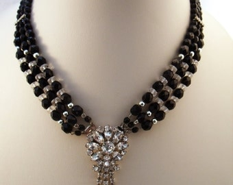 Vintage black bead and rhinestone party necklace