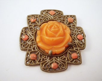 Vintage Coral celluloid rose filigree  brooch with enamel