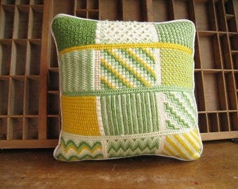 Vintage Needlepoint Pillow Bargello Square Pillow in Green White and Yellow
