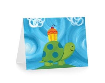 Cupcake Turtle Blank Greeting Card & Envelope