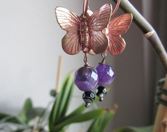 Rose Gold Butterfly Earrings - Amethyst - On Trend - Under 25 - Gift for Her - Purple Earrings - Semiprecious Stone