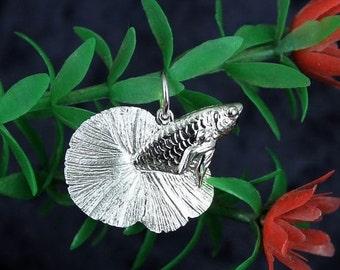 SALE Sterling Silver 3D Betta Fish Pendant Necklace