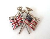WWII Victory Pin British American Flags Enamel Rhinestones Brooch