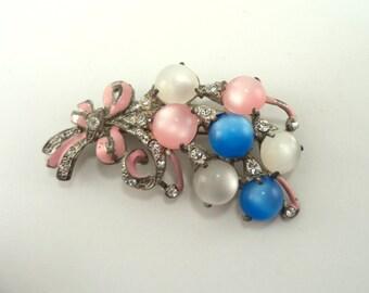 Pot Metal Brooch Pastel Lucite Cabochons Crystal Rhinestones Pink Enamel Silvertone