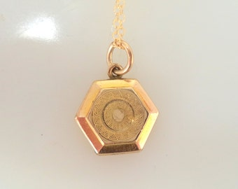 Vintage Petite Gold Filled Locket Pendant and 14K GF Chain Necklace