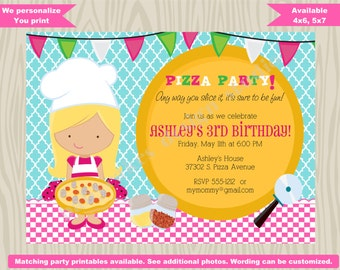 Pizza Birthday Party Invitation Invite Pizza Party invitation Pizza Chef girl birthday party Pizza making party CHOOSE YOUR GIRL
