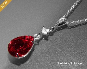 Red Crystal Necklace Dark Red Rhinestone CZ Necklace Swarovski Siam Bridesmaid Silver Necklace Wedding Red Jewelry Teardrop Red Necklace