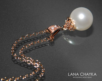 White Pearl Rose Gold Bridal Necklace Swarovski 10mm White Pearl Necklace Rose Gold CZ Single Pearl Wedding Necklace Bridal Pearl Jewelry