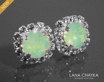 Chrysolite Green Opal Crystal Halo Earrings Swarovski Chrysolite Rhinestone Studs Light Green Bridesmaids Earrings Green Opal Halo Earrings