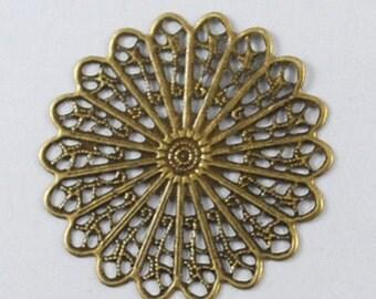 Filigree Blank Pendants Antiqued Bronze Filigree Pad Large Focal Pendant 45mm 10 pieces