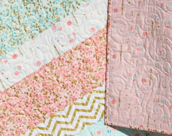 Shimmer Baby Quilt, Girl Crib Bedding, Blanket, Gold Striped, Coral Pink Light Blue Nursery Decor, Brambleberry Glitz, Ready to Ship