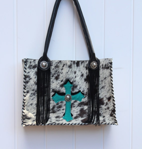 Purse in black speckled cowhide