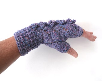 Lilac Tweed Lace Fingerless gloves, 100% wool with bobbles , gift for her , winter accessory , christmas gift , unique design , gloves uk