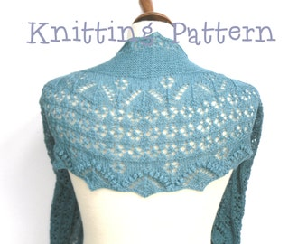 Knitting Pattern for crescent shaped lace shawl, full written instructions, pdf file,  mock estonian lace, flowers with bobbles, short rows