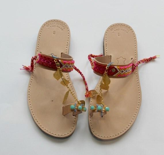 SALE!Boho Sandals/Leather Slides Sandals/39 U.S 8-8.5
