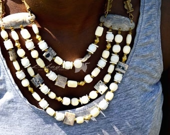 Mother's Day Gift,White Layered African Necklace,Beaded African Jewelry