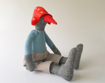 Bird doll Stuffed Animal - Soft Sculpture Toy , goose cloth toy , Plushie rag doll ,Softie gray duck in baby blue and red , Stuffed Animal