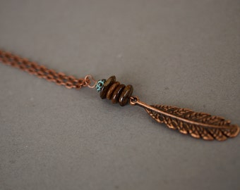 Bronzite Feather Necklace, Copper Necklace, Antique Copper Necklace, Long Boho Necklace, Patina Necklace, Gemstone Necklace