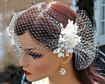 Birdcage Veil, Wedding Veil, Pearl Comb, 2 piece set, White, Russian netting, Handmade, short, Pouf, couture,  Pearl Cluster, Jennifer Jones