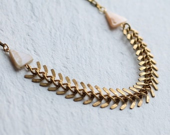Fishbone Pearl Necklace ... Modern Geometric Statement Bib Collar Necklace Chain