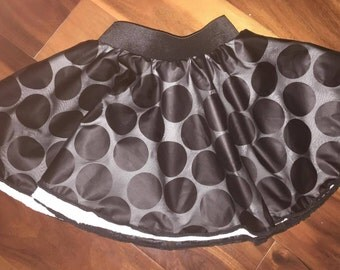 CLEARANCE - Girl's XS Size 3t / 4t - Two layer black dots circle skirt - ready to ship  (S-3-7)