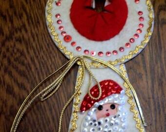 Vintage Christmas Felt Door Hanger Handmade Sequins Santa Retro