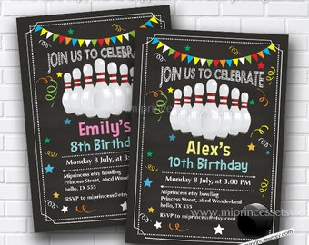 Bowling Birthday Invitations any age for kids birthday invitation chalkboard theme bowling invitation design fun party boy or girl card 344