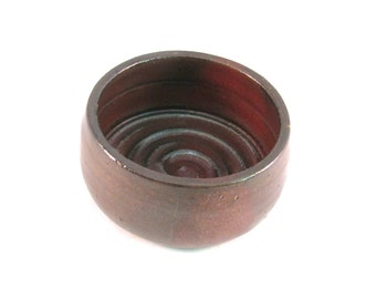 Shaving bowl - Shave Mug - Handmade Pottery - Pottersong - Ridges for Good Soap Lather - Comfort Shave - Rustic - Rust Red