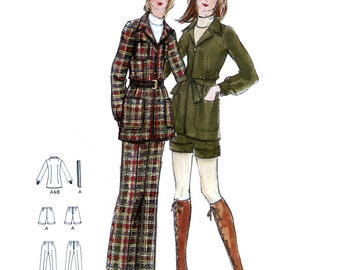 Butterick 6401 Vintage 70s Sewing Pattern for Junior / Teen Jacket, Pants and Shorts - Uncut - Size 7/8 - Bust 29