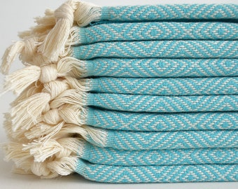 SALE 50 OFF/ SET 2 Towels / Head and Hand Towel / Diamond Style / Ice Blue