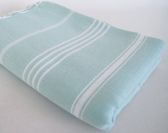SALE 50 OFF/ Classic Blanket / Light Blue / Beach blanket, Picnic blanket, Sofa throw, Tablecloth, Bedcover