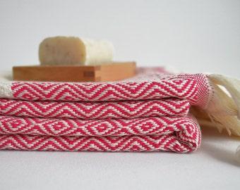 BathStyle / Diamond Turkish Head&Hand Towel / Pink / Wedding Gift, Spa, Swim, Pool Towels