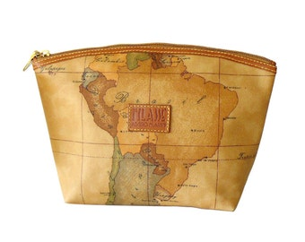 Authentic Alviero Martini 1A Classe Geo Map Large Zip Top Travel Bag Cosmetic Case Made in Italy