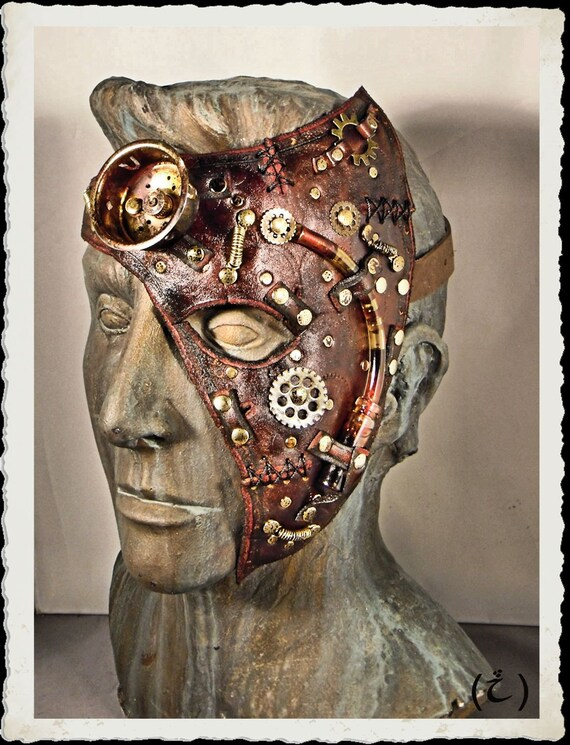 Steampunk brown leather half mask - Dr Hal -