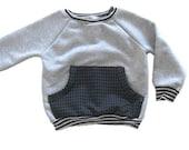 Baby Sweatshirt, Baby Boy Pullover, Toddler Sweatshirt, Raglan Sweatshirt, Front Pocket, Modern Baby Boy Clothing