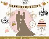 Wedding clip art, bride and groom clip art, wedding cake, chandelier, wedding banner