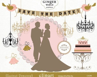 Wedding clip art, bride and groom clip art, wedding cake, chandelier, wedding banner