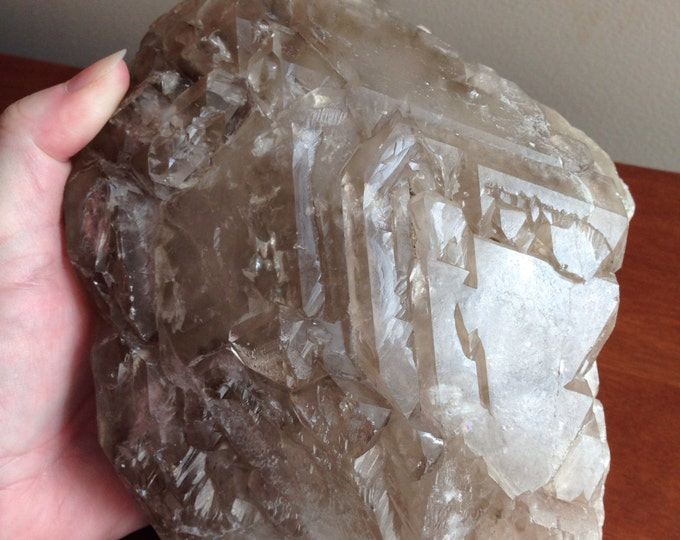 "Huge 9"" Elestial Smoky Quartz Specimen - Rare Collector's Mineral Showpiece"