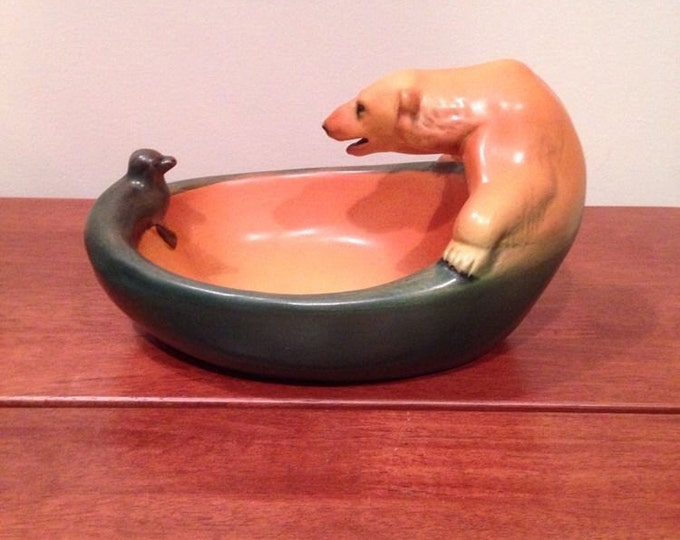 Ibsen Polar Bear & Seal Danish Art Pottery Dish Bowl c.1909 by Charles Arvesen